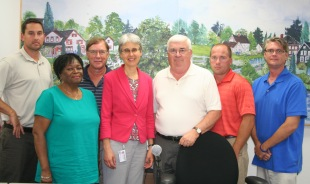 Big Flats Town Supervisor Ed Fairbrother with Town Board and Age-Friendly Community Planning Committee members after their presentation to the Board on the Age-Friendly Community initiative. The Town of Big Flats Board passed a resolution that evening to commit to being an Age-Friendly Community